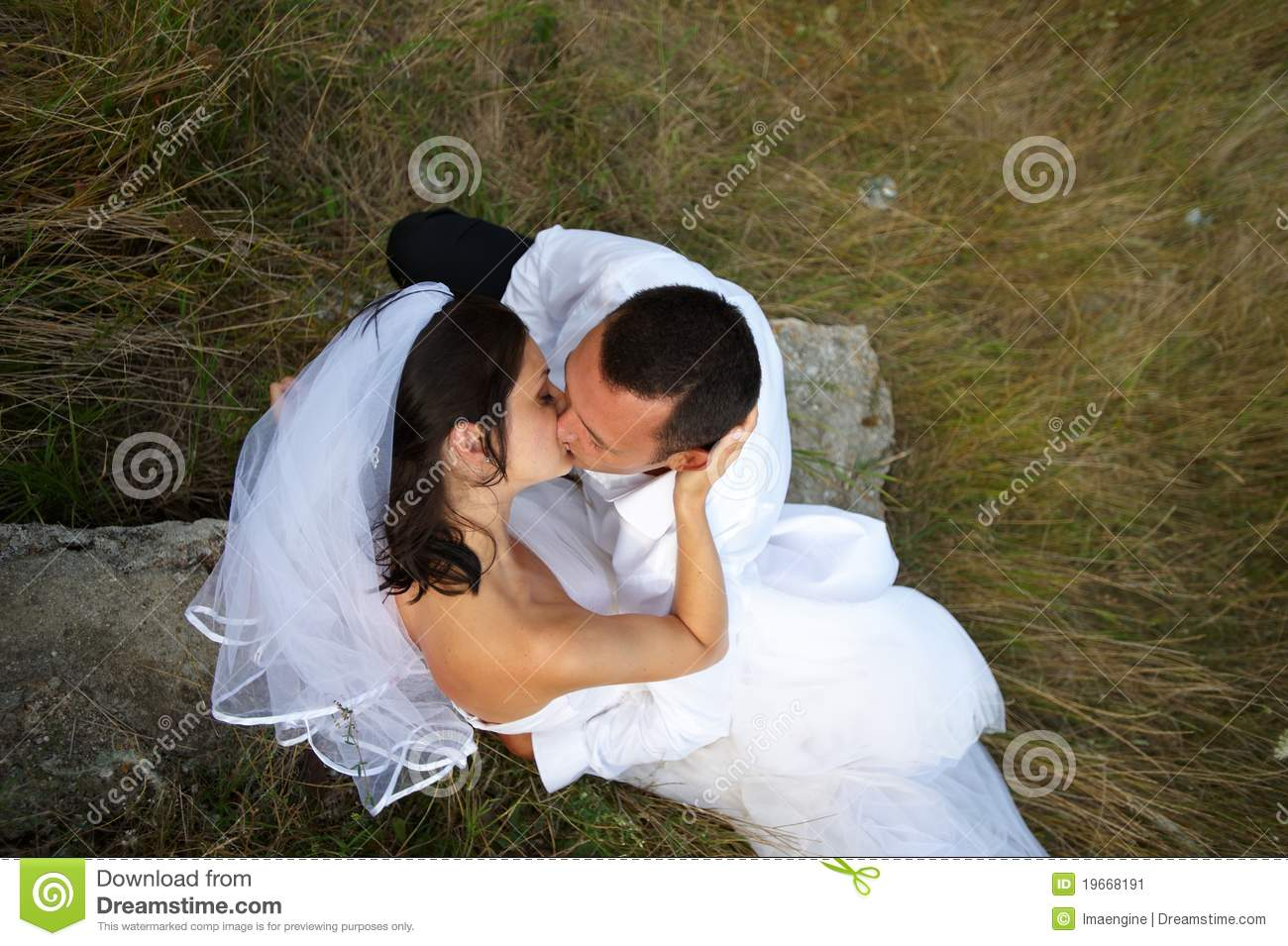 The magic of the wedding kiss between lovers
