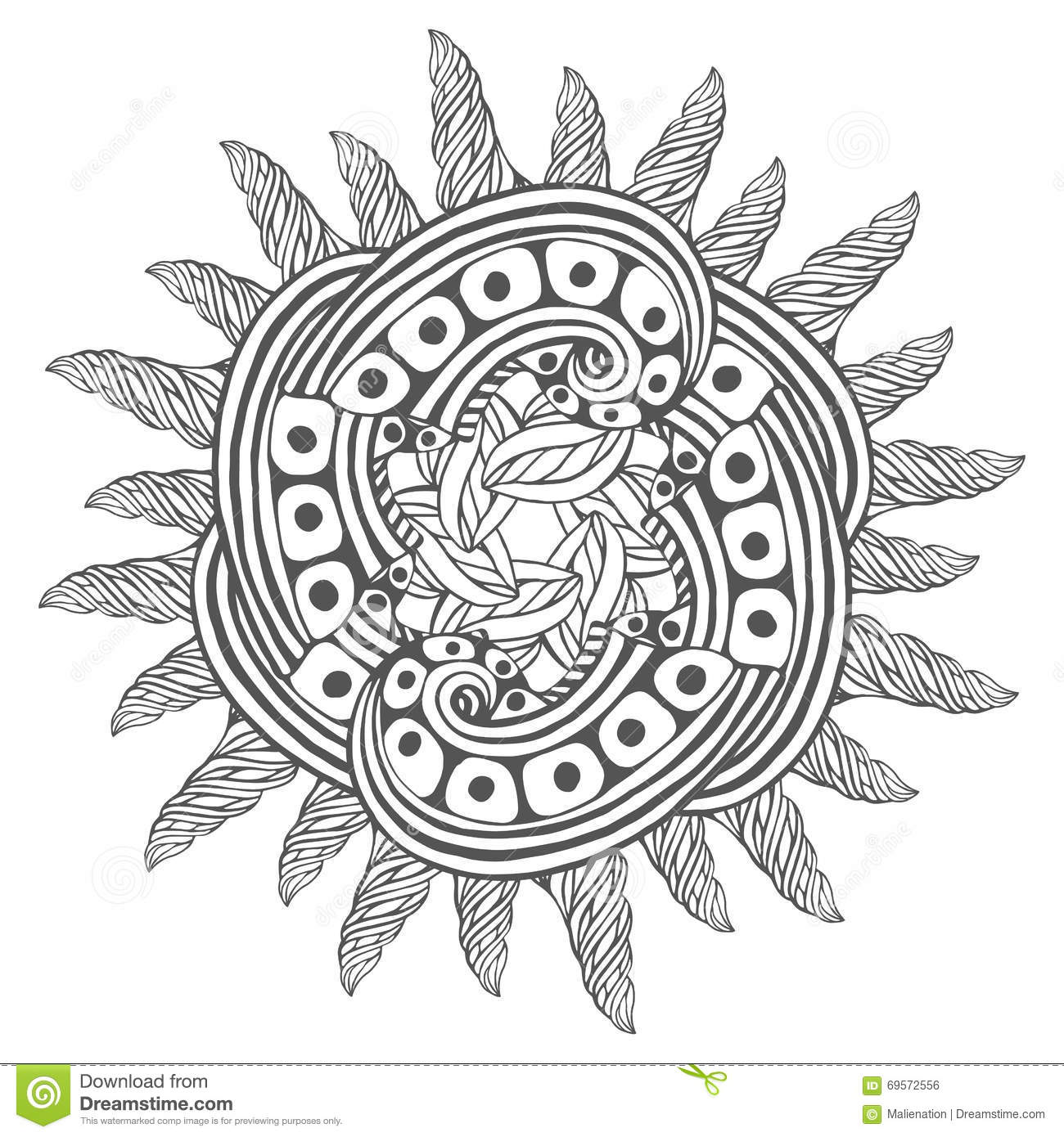 Magic Zentangle Art For Coloring Book Pages Mandala Tattoo Design Vector Illustration Royalty Free