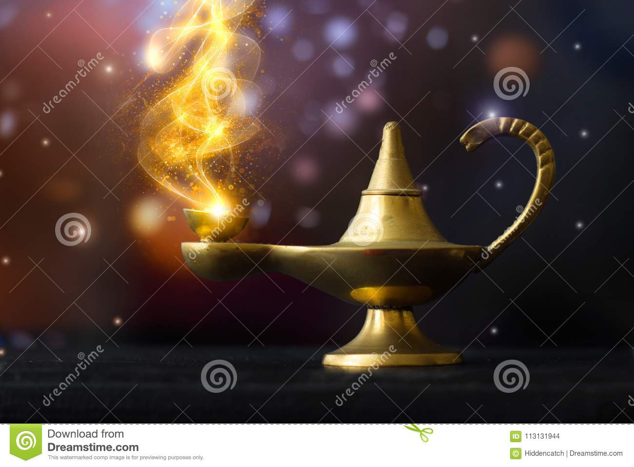 Magical Aladdin lamp, with golden glittery smoke coming out; make a wish