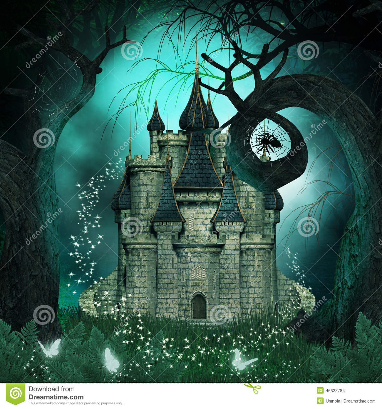 magical background with a fantasy castle and creepy trees
