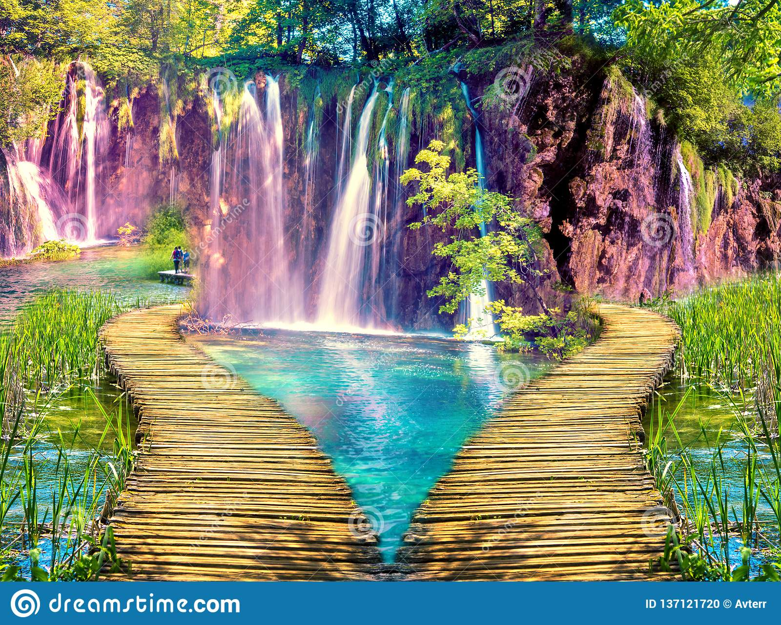 Magical beautiful inspiring scenic landscape with waterfalls and a bridge in the form of a heart. Valentine`s Day, February 14 -