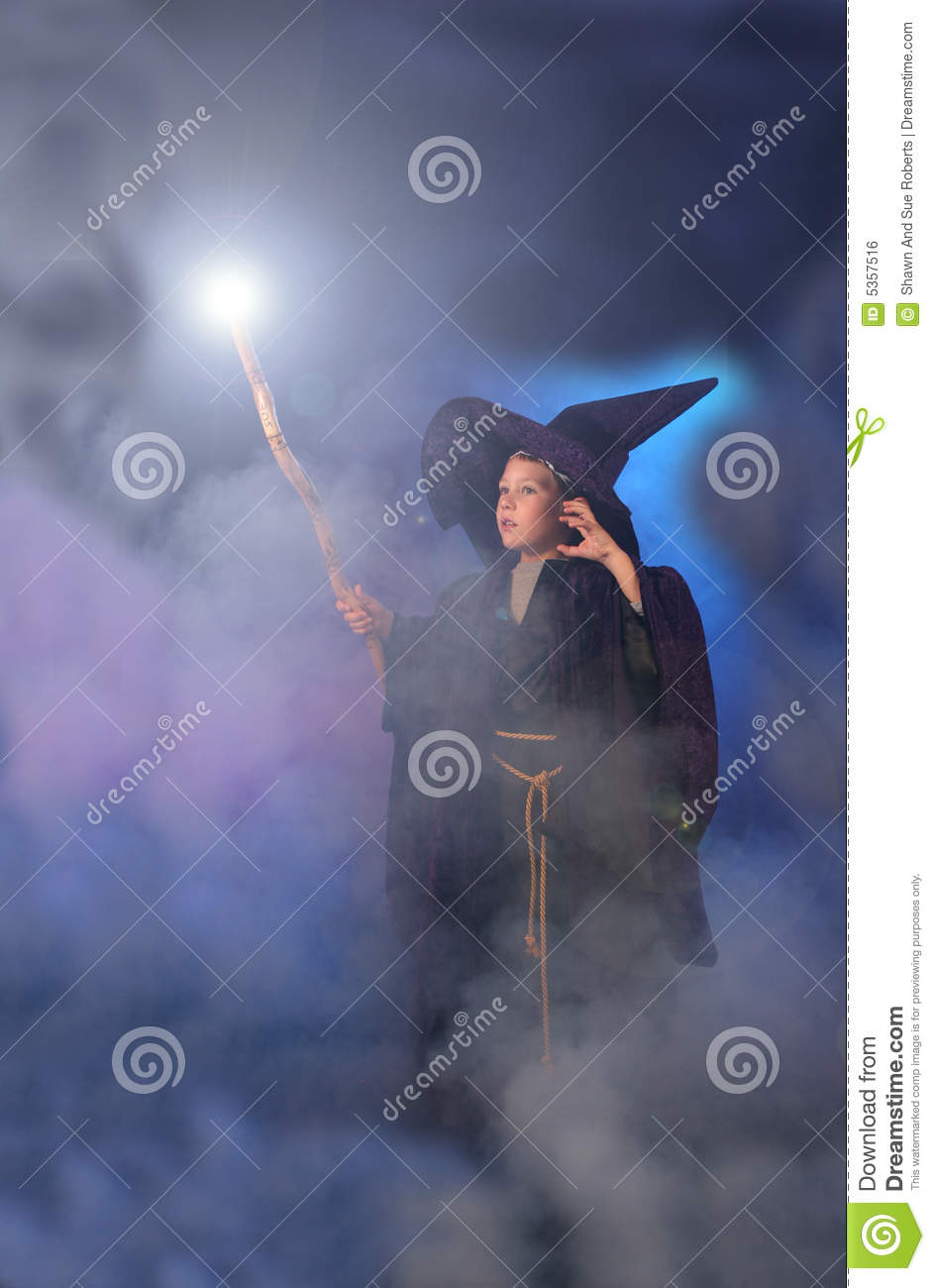 Magical Child In Wizard Costume Royalty Free Stock Image - Image ...