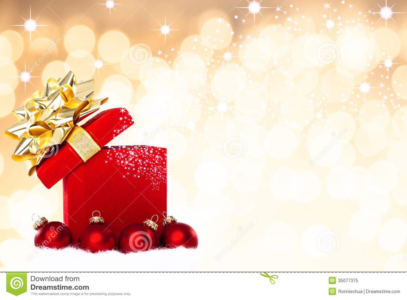 Magical Christmas Gift Background With Red Baubles Stock Image ...