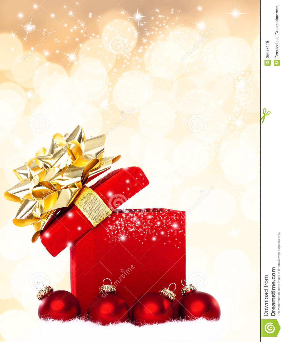Christmas Gift Background: Magical Christmas Gift Background With Red Baubles Stock