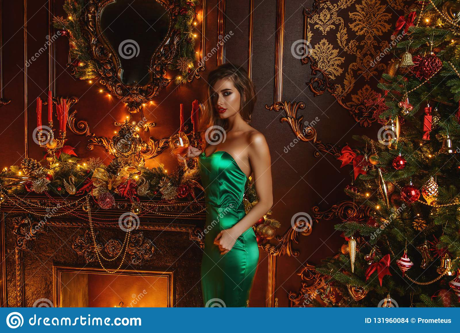 Lady in evening green dress