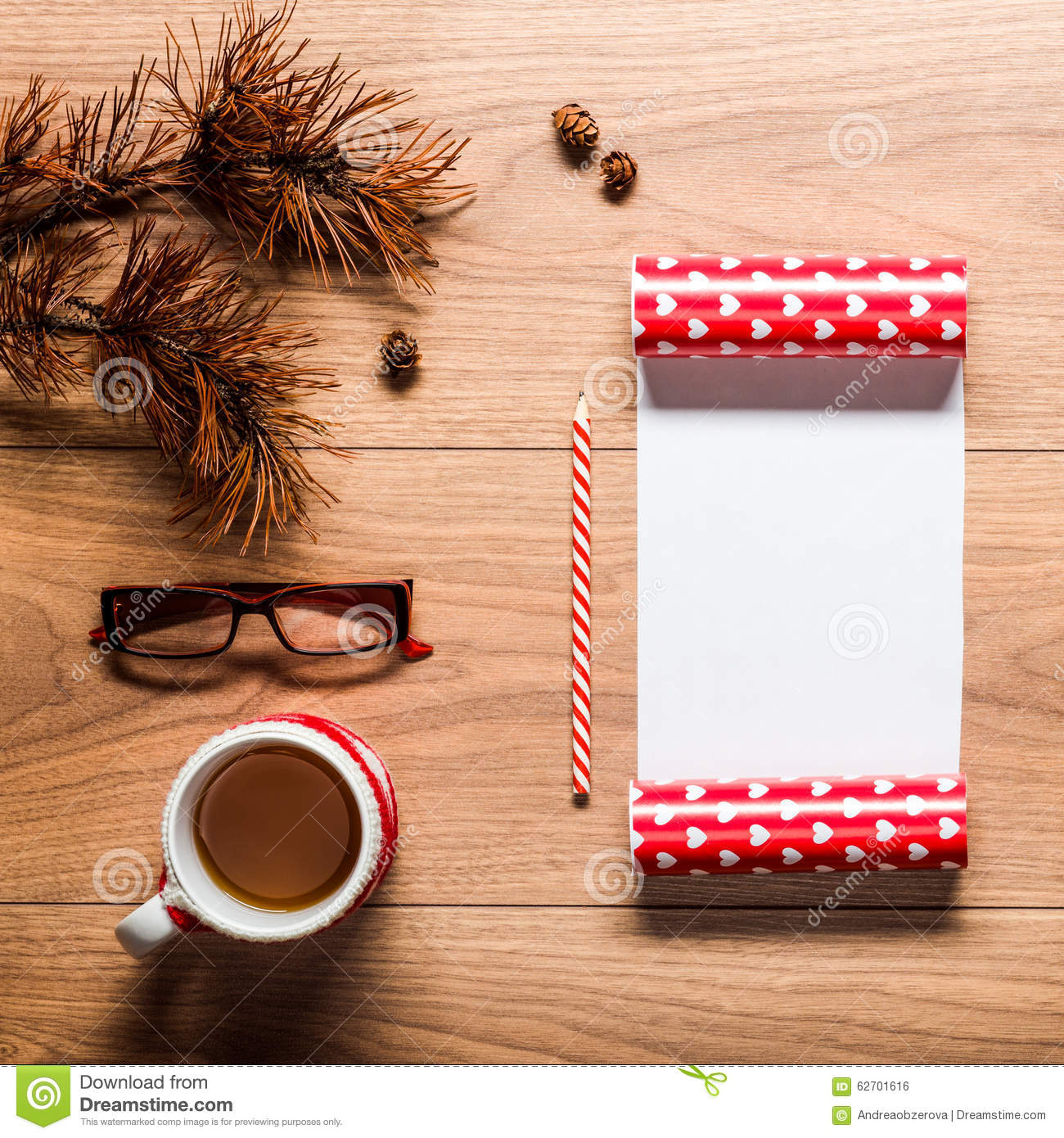 Magical christmas theme background, pine cones, coffee, cookies and an ...