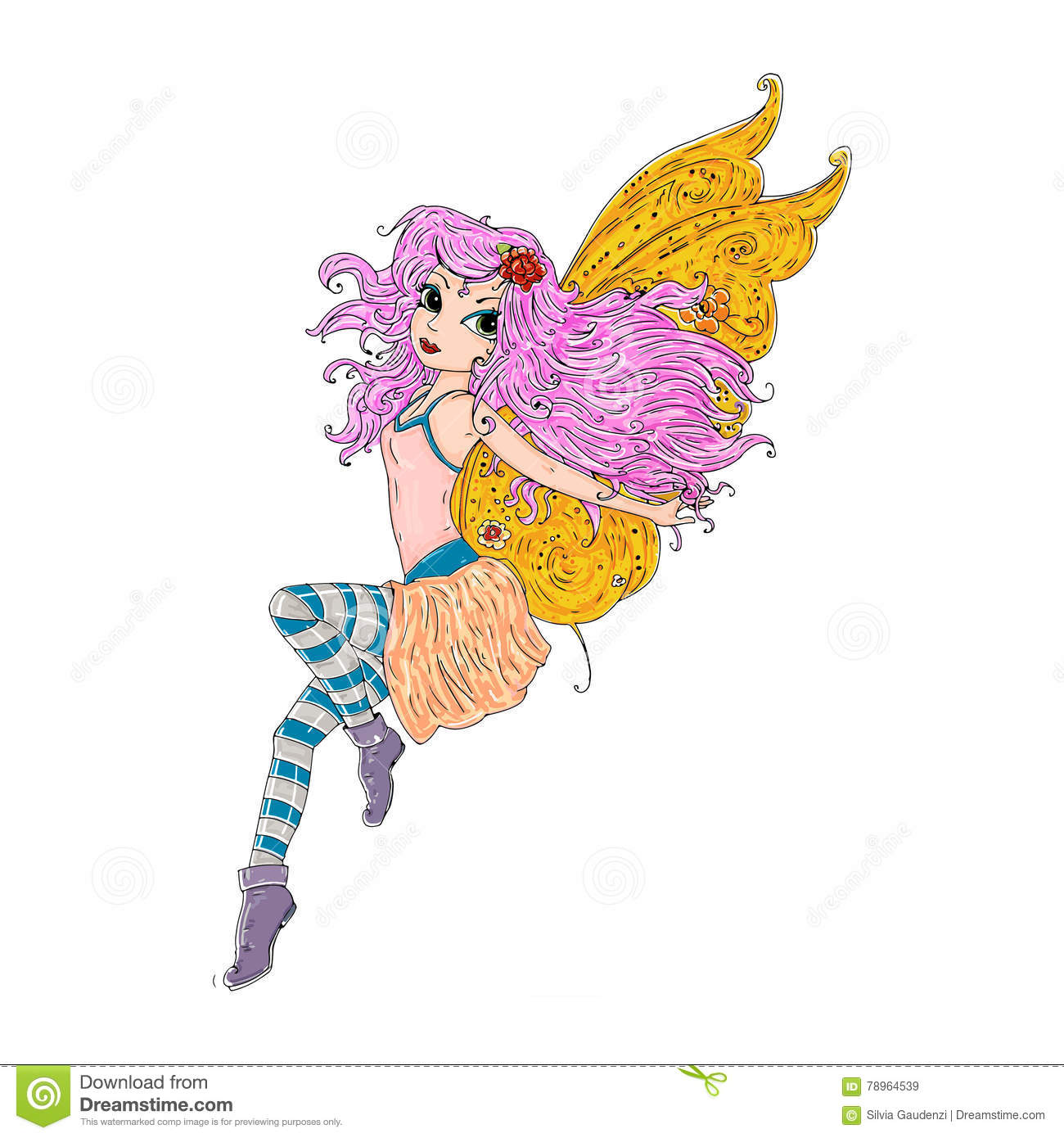 Magical Fairy With Wings And Long Hair Color Illustration For Books ...