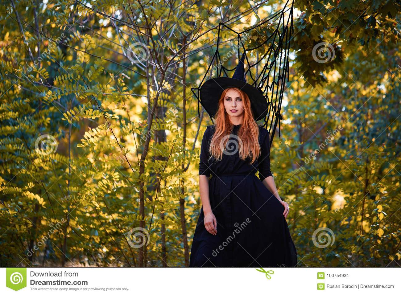 beautiful ginger witch woman in a hat on a forest background