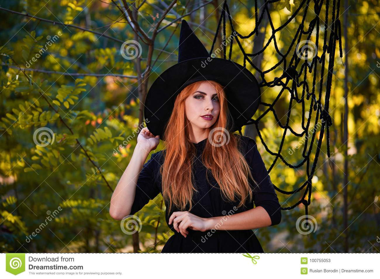 download beautiful ginger witch woman in a hat on a forest background halloween costumes concept