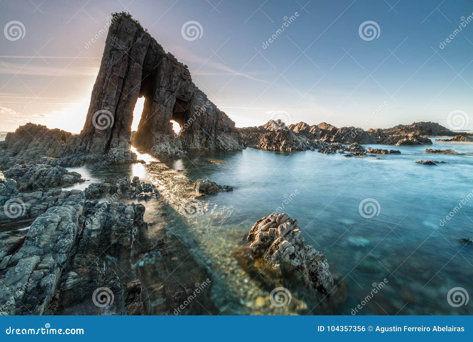Magical monolith in Asturian beach
