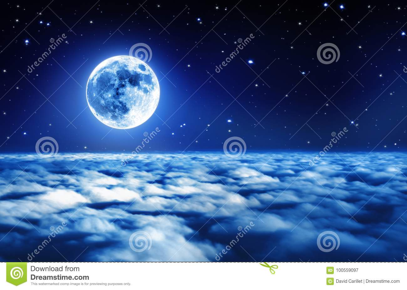 Bright full moon in a starry night sky above dreamy clouds with soft glowing light