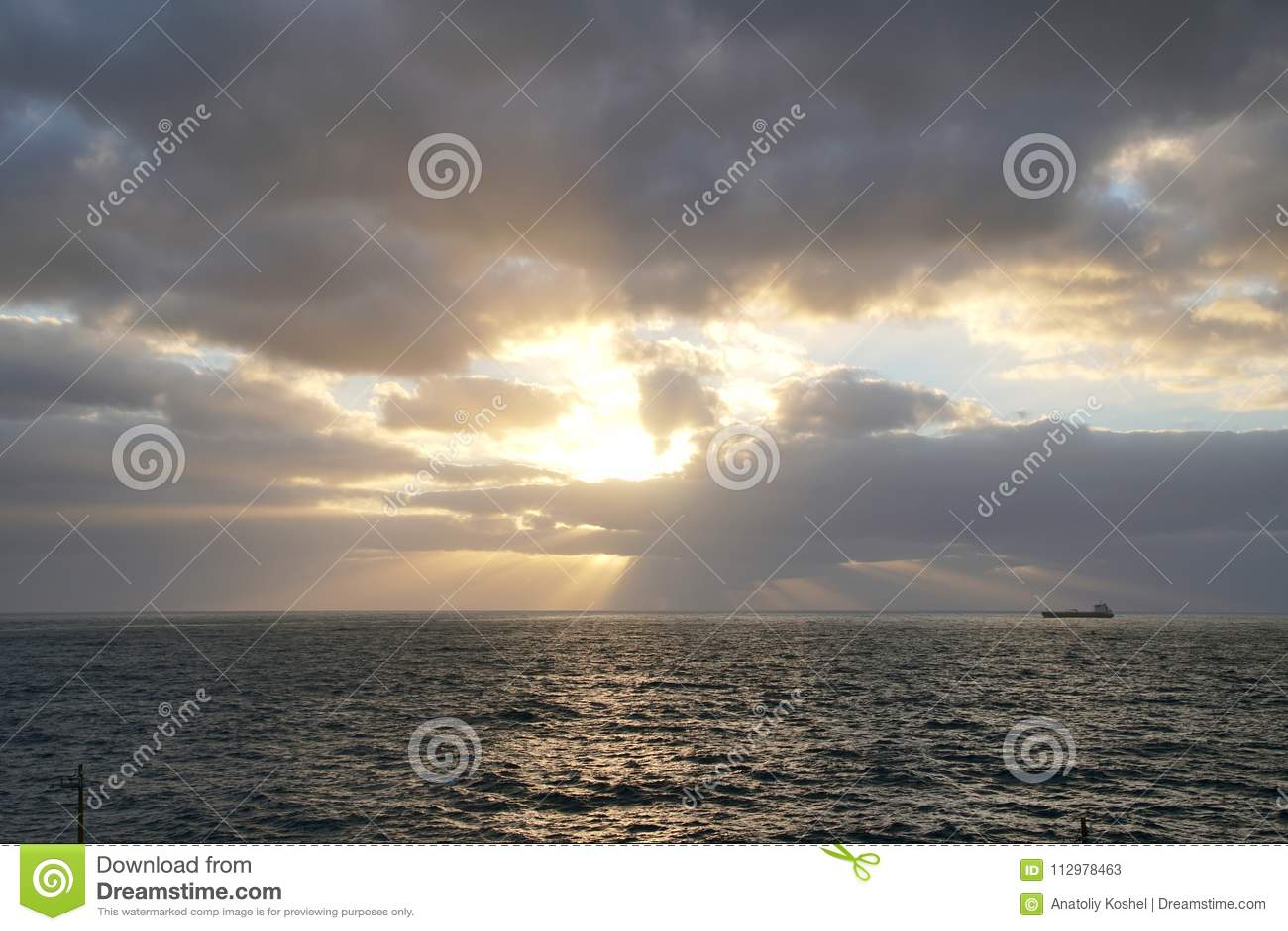 Magical ocean. Sunrise over the Atlantic. Morning. Waves