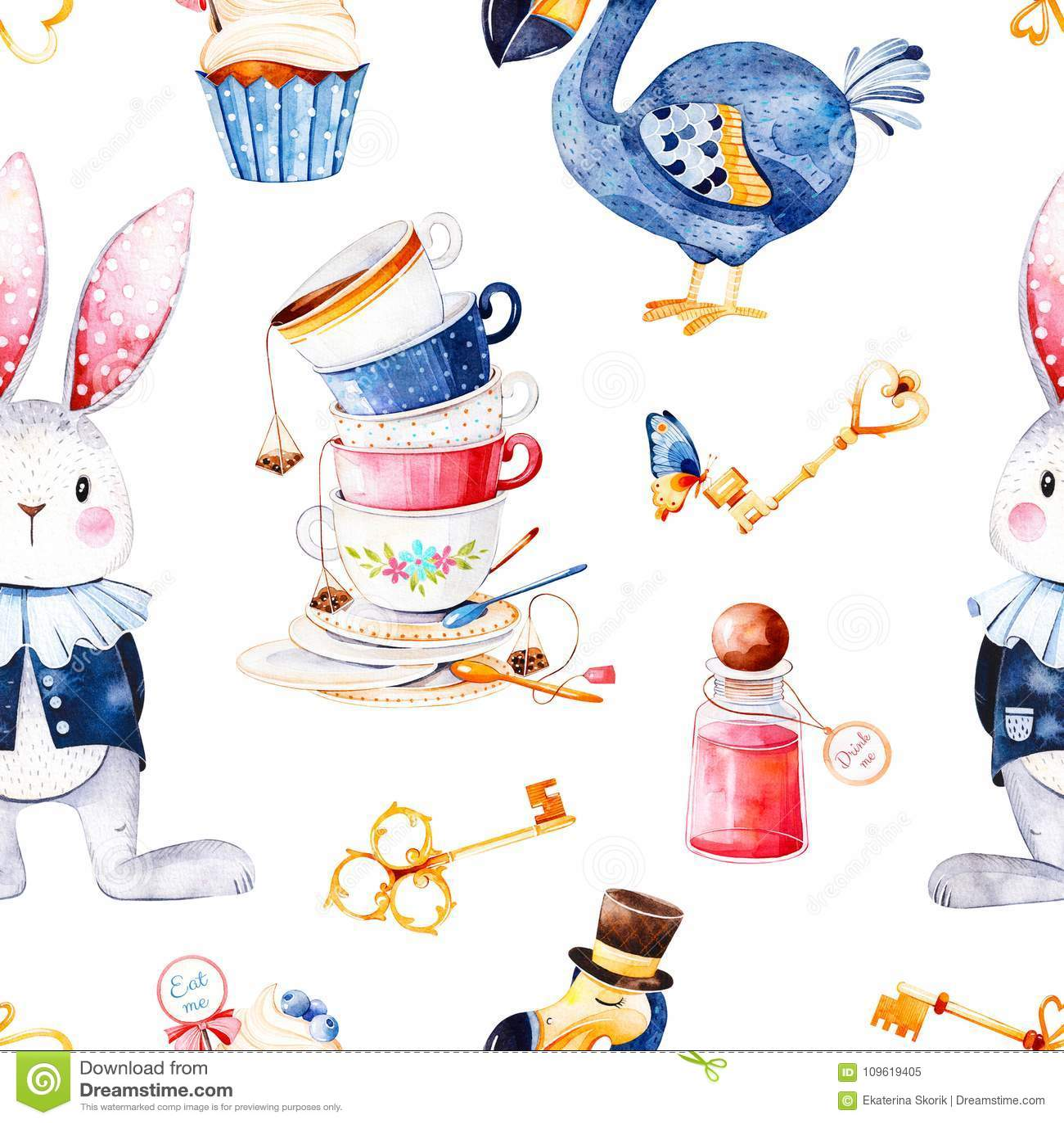 Magical pattern with bottle,Dodo bird,golden keys,cute rabbit in blue jacket,cupcake