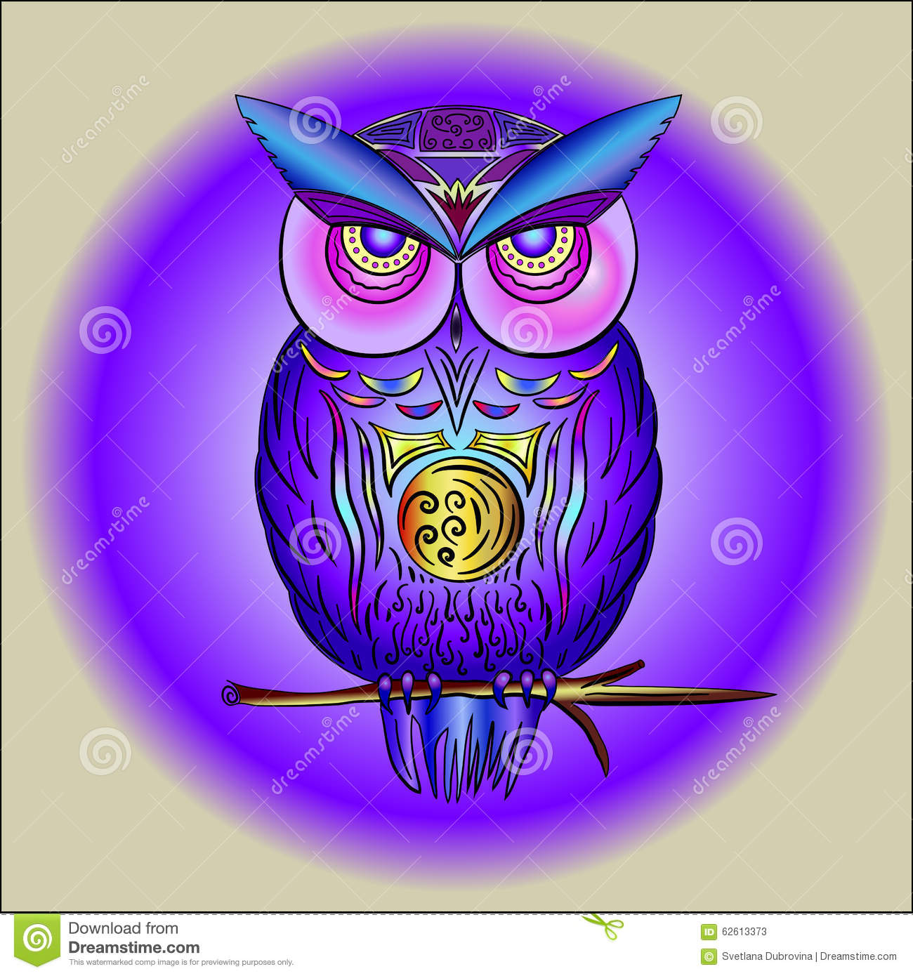 Magical Purple Owl On Branch Stock Vector - Image: 62613373