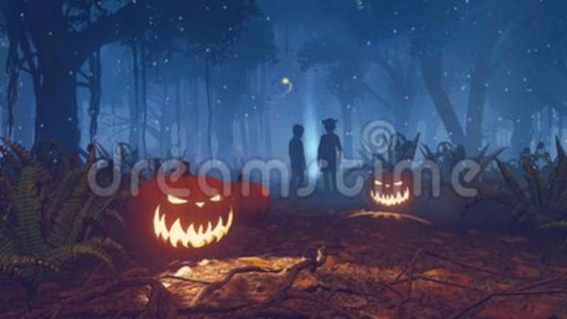 lost children in scary halloween forest at night 4k stock footage video of lantern fern 100505636