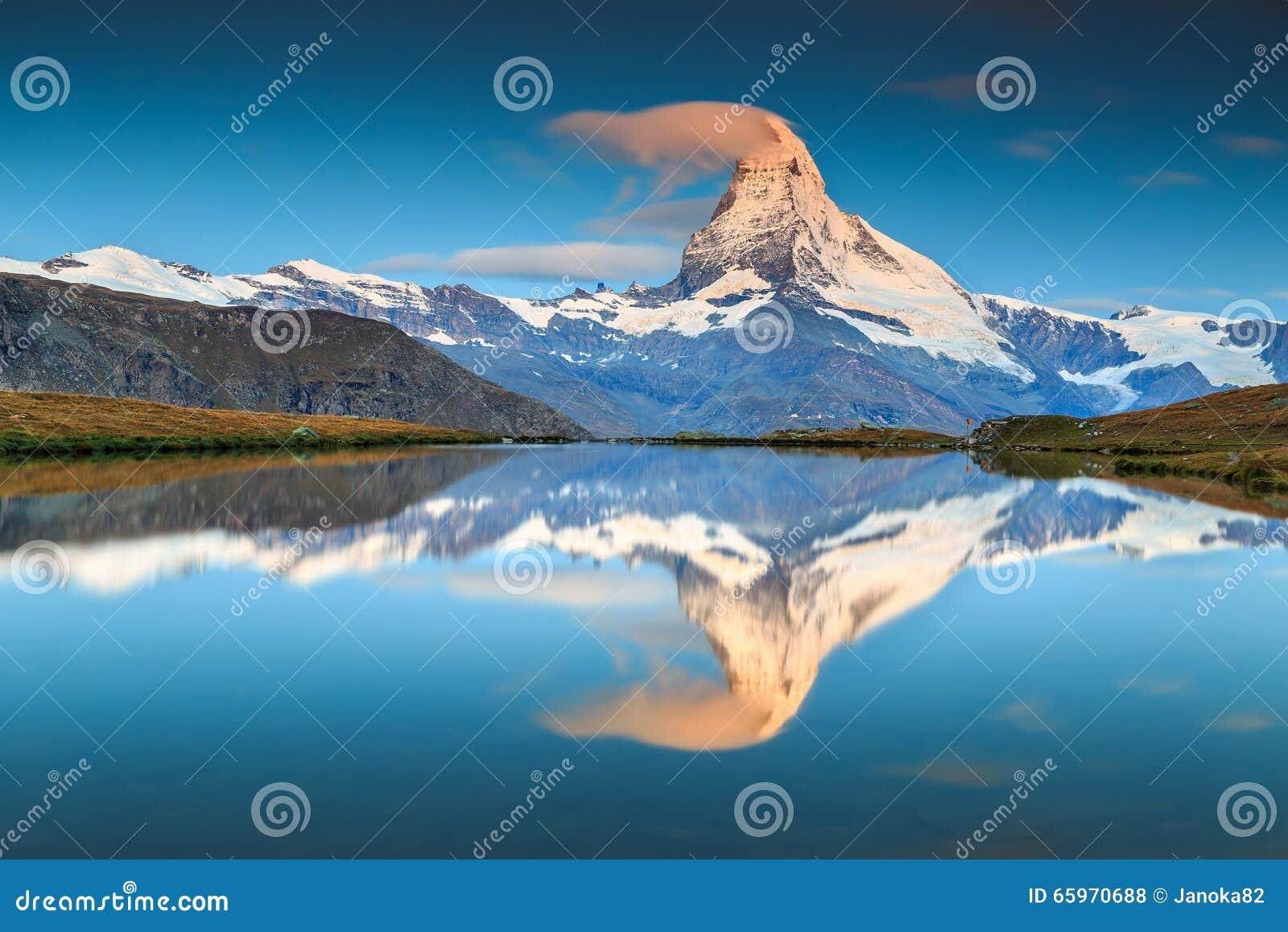 Magical sunrise with Matterhorn peak and Stellisee lake,Valais,Switzerland