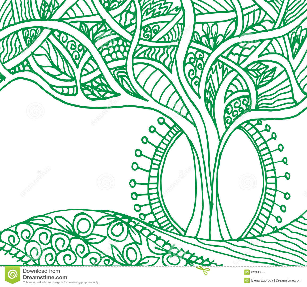 a magical tree of doodle patterns and leaf green stock
