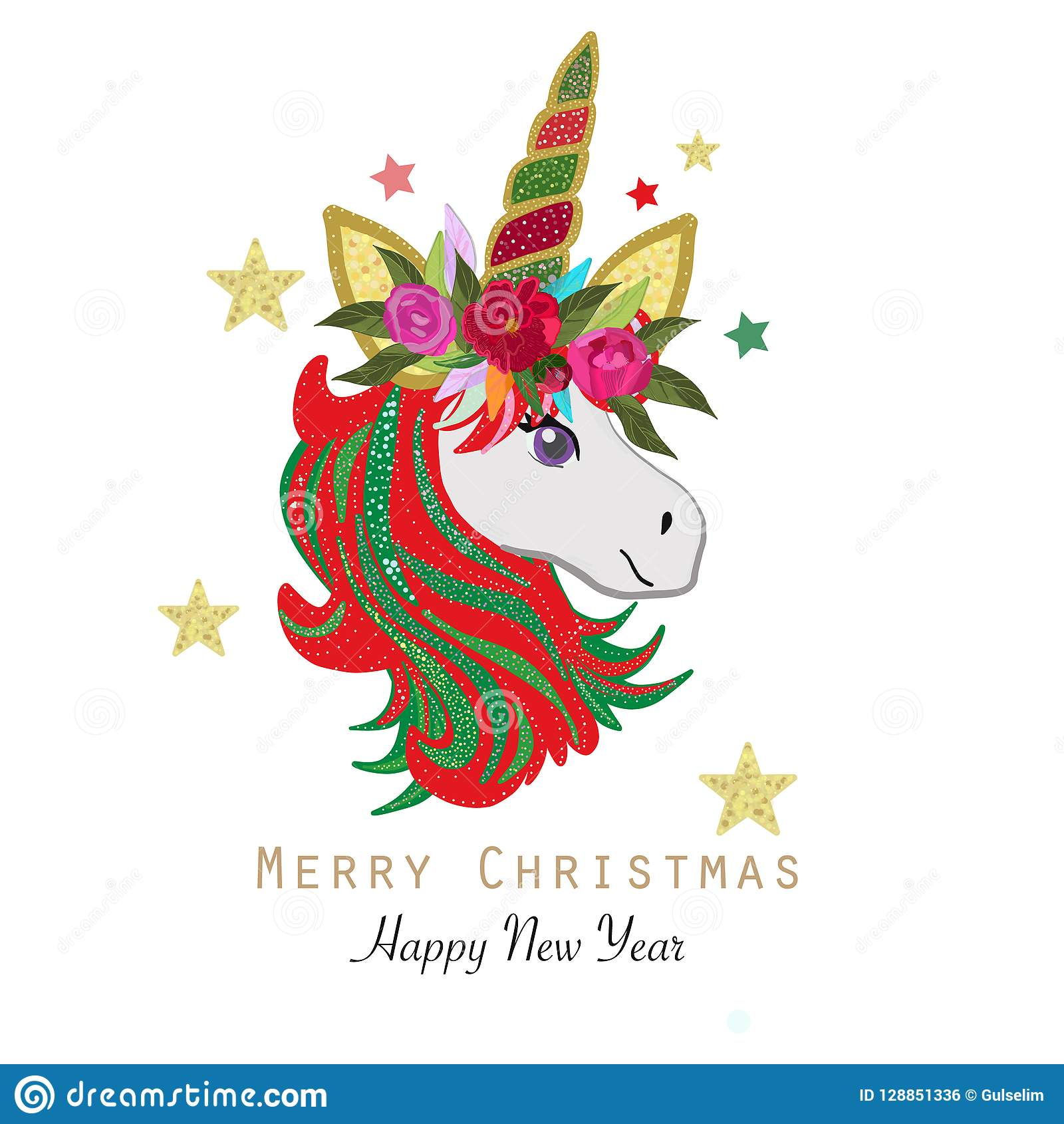 magical unicorn happy new year and merry christmas greeting card