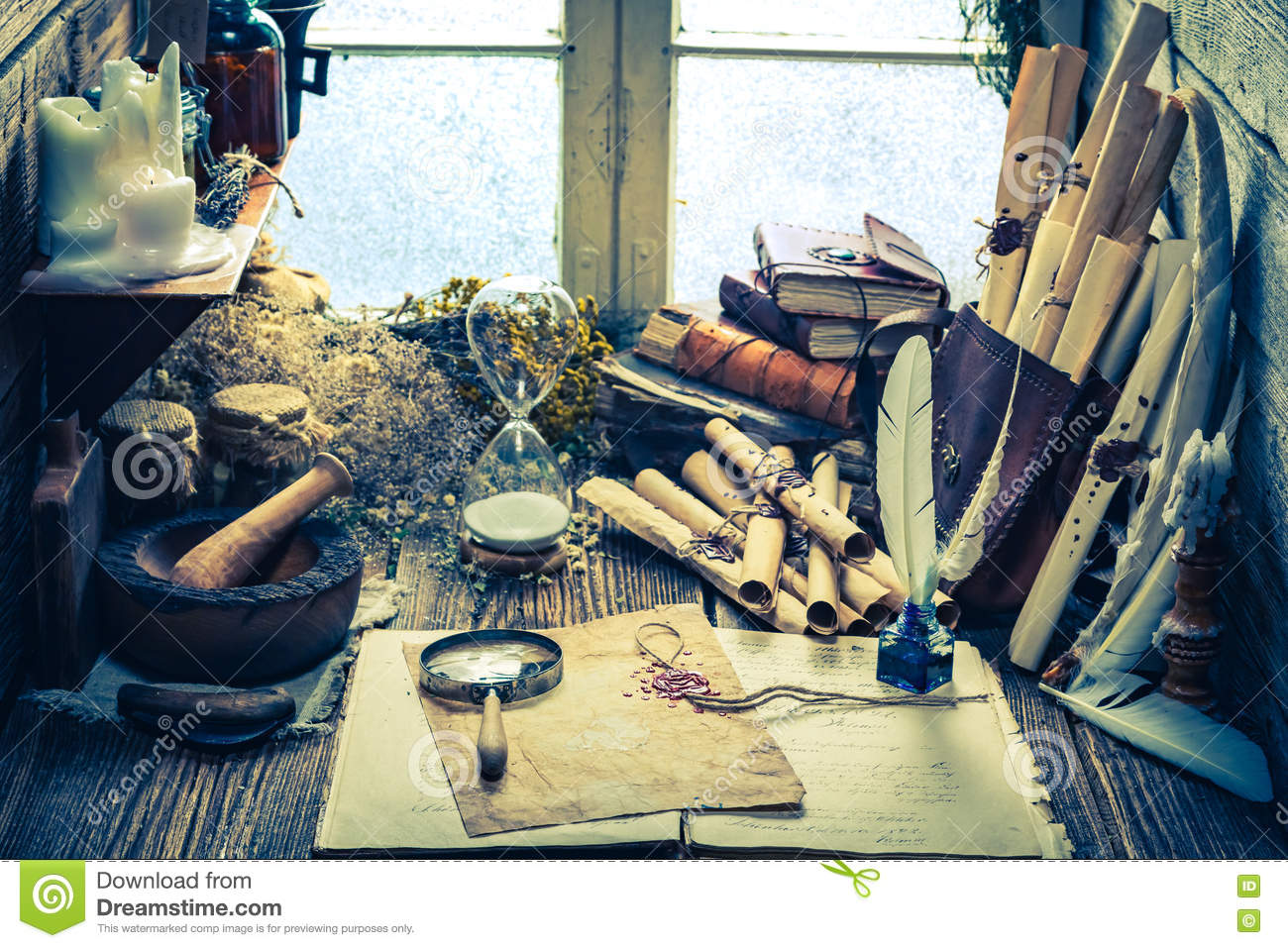 Magical Witch Library Full Of Scrolls And Recipe Stock Photo
