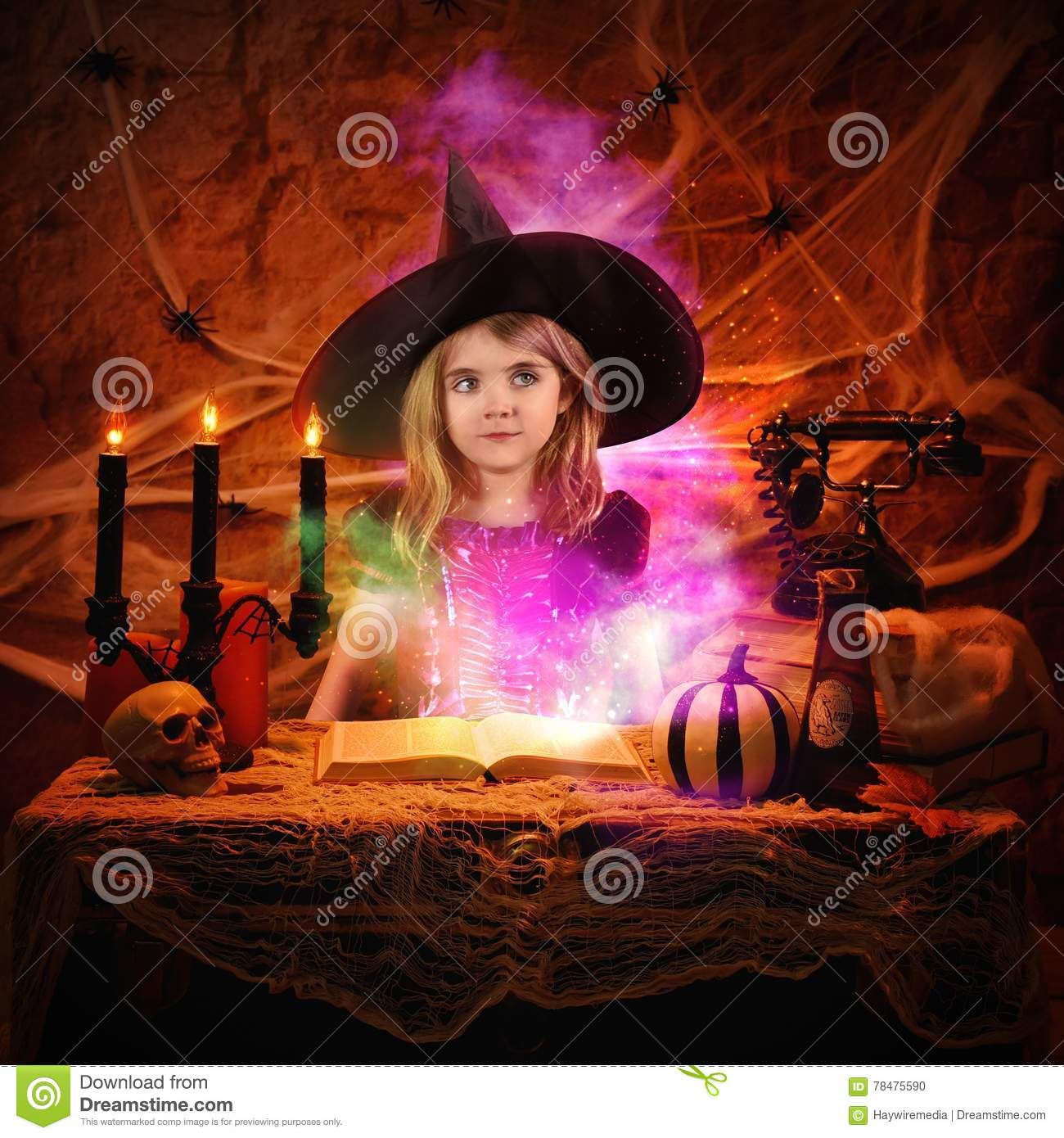 Magical Witch Reading Spell Book