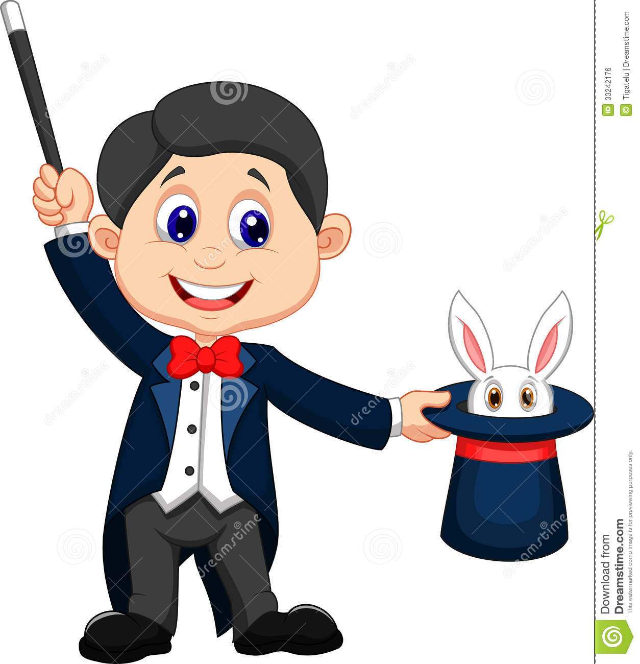 Illustration of Magician cartoon pulling out a rabbit from his top hat ...