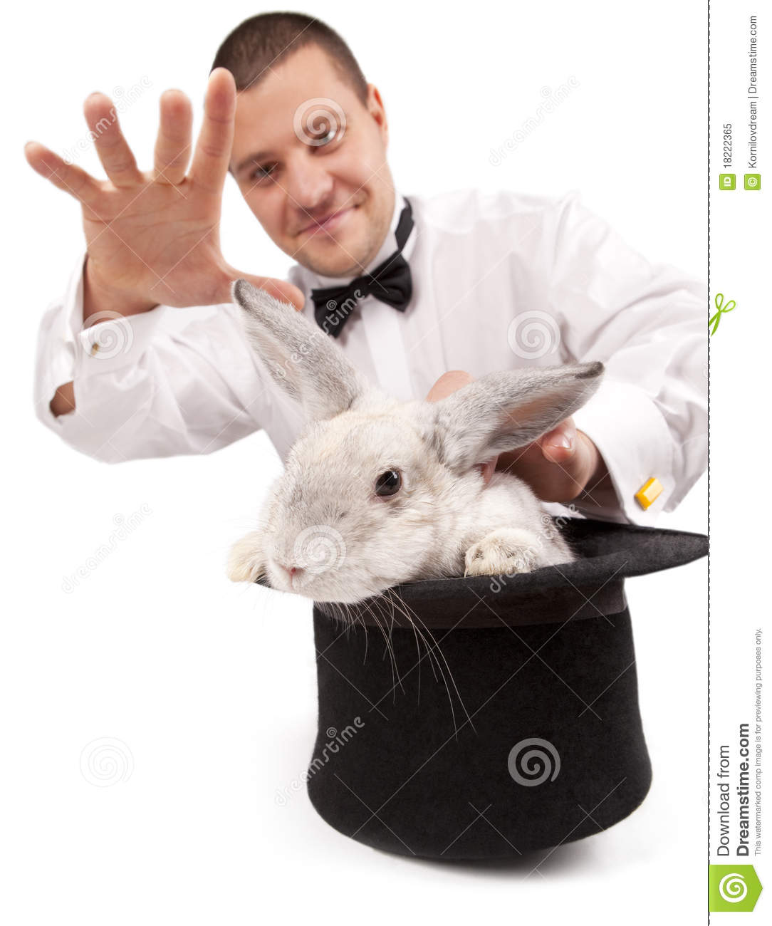 Magician Conjuring With A Rabbit Stock Image - Image: 18222365