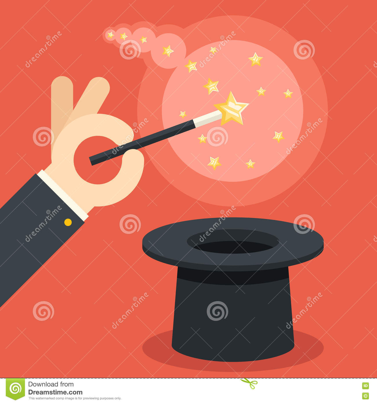 Magician Hand Holding Magic Wand Over Cylinder Hat Flat Design ...
