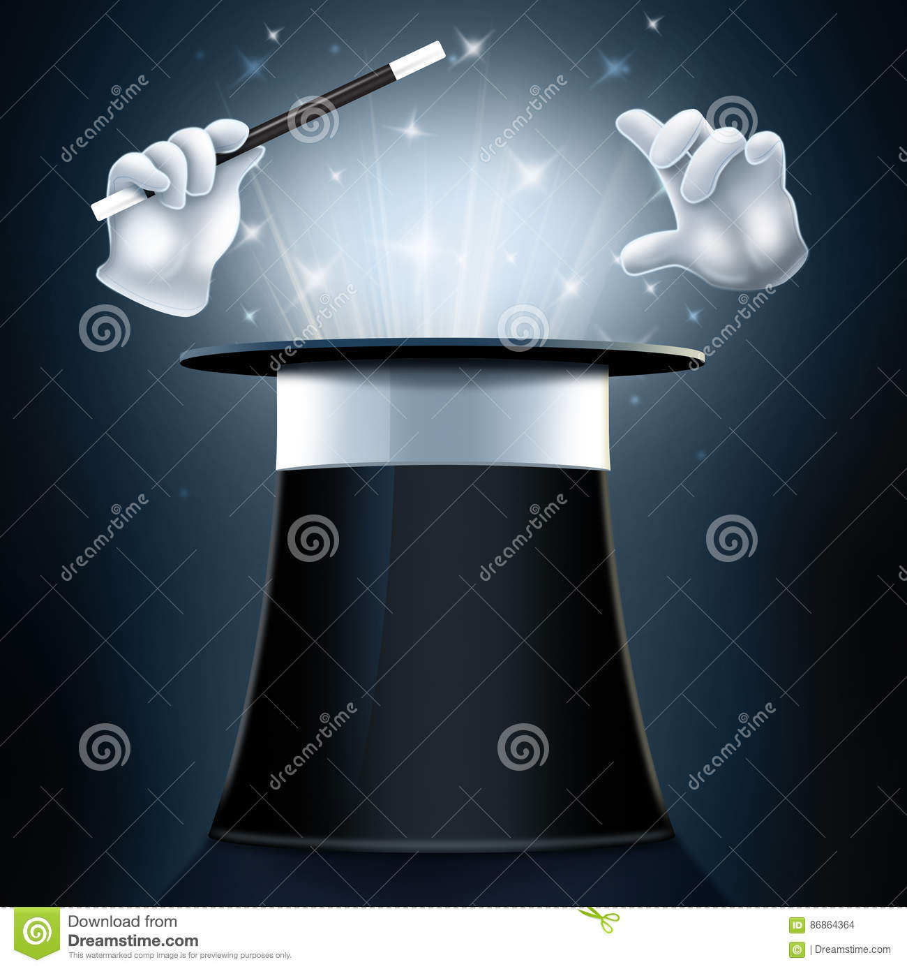 Magician Hat And Gloves Stock Illustration Illustration Of Wand