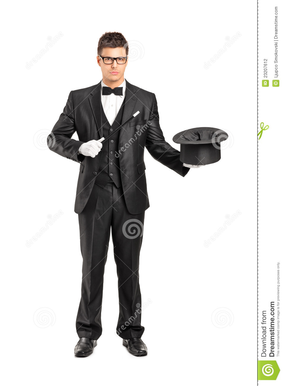 Magician From The Crystal Visions Tarot: Magician Holding A Magic Wand And Top Hat Stock Photo