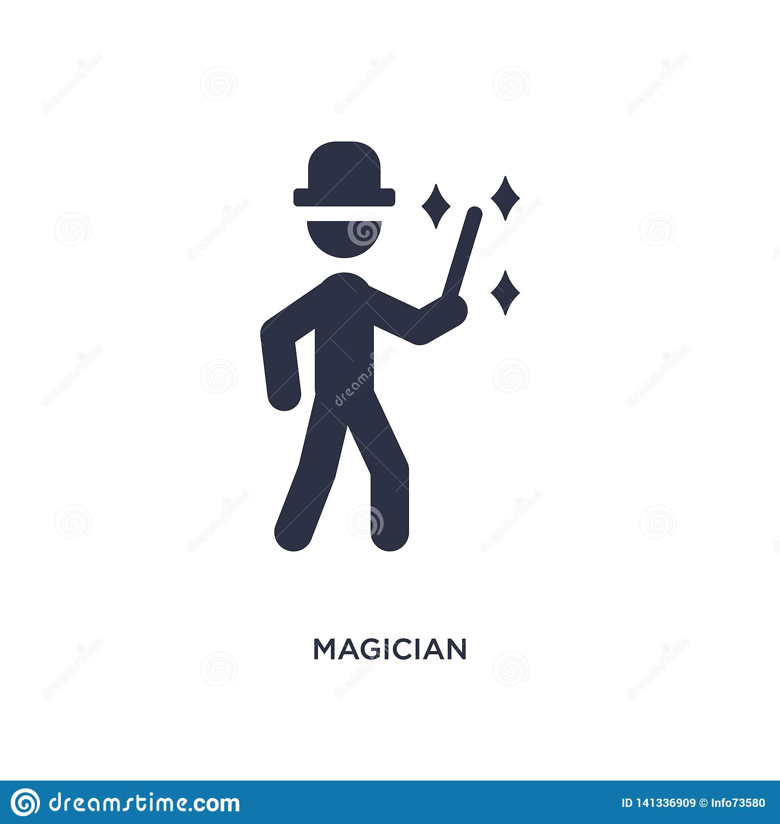 magician icon on white background. Simple element illustration from outdoor activities concept