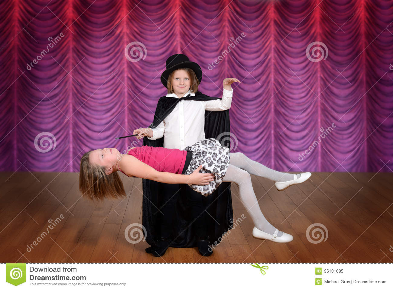 Magician Levitating Assistant Stock Image - Image of ...