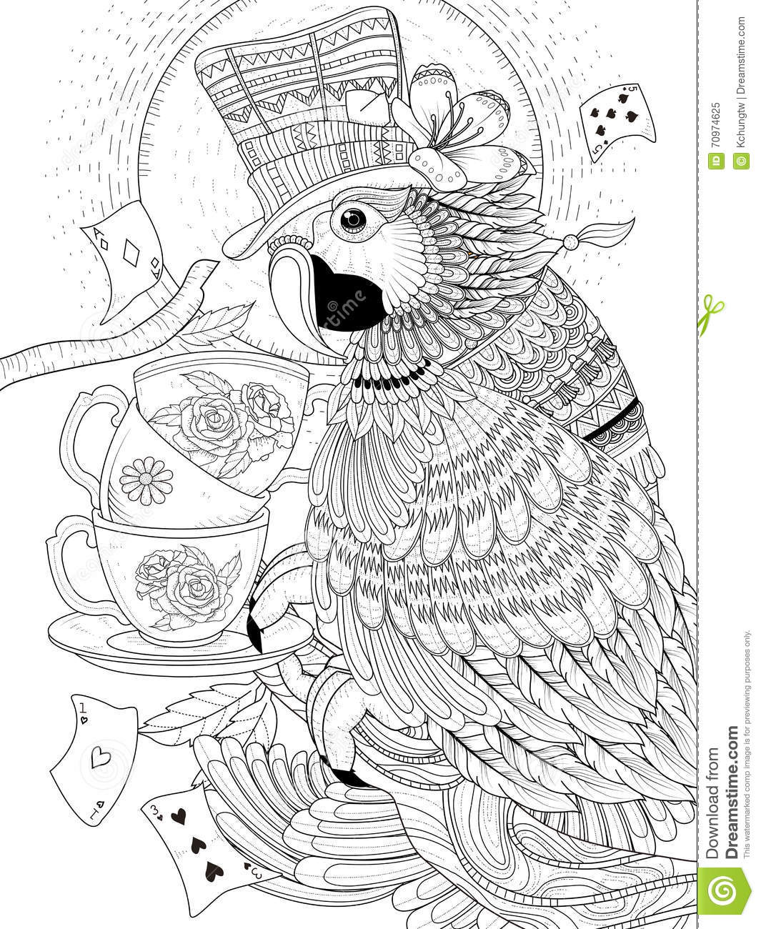 magician parrot adult coloring page