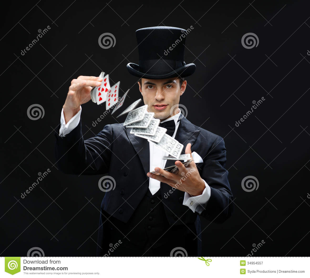 Magician Showing Trick With Playing Cards Royalty Free Stock ...