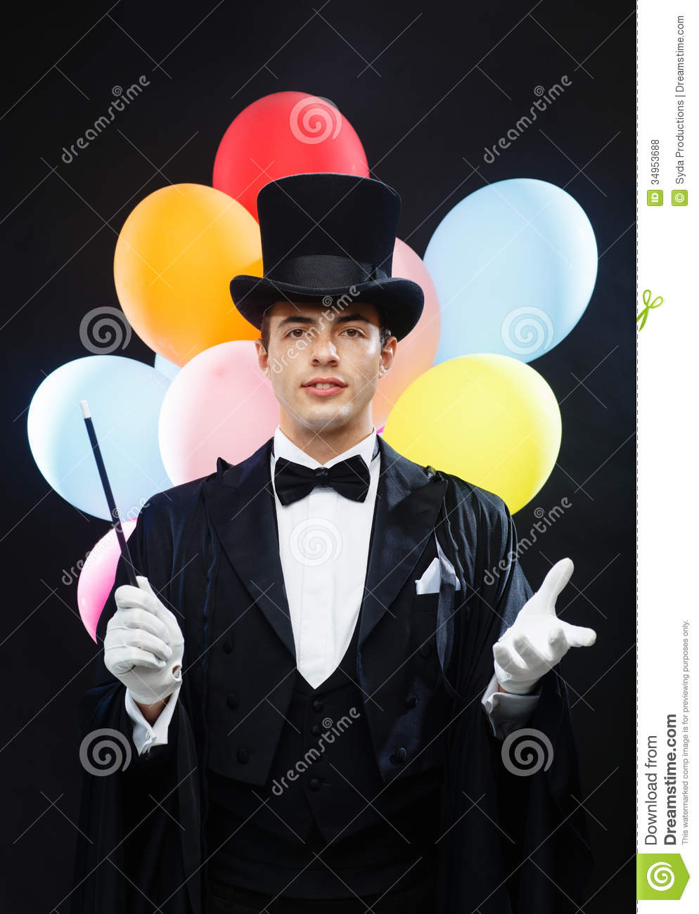 Magician In Top Hat With Magic Wand Showing Trick Royalty Free Stock ...