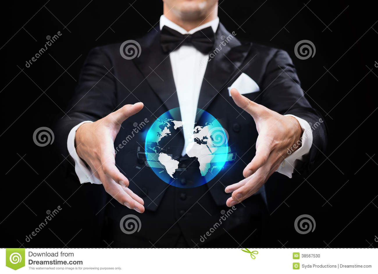Performance Technology: Magician In Top Hat Showing Globe Hologram Stock Photo