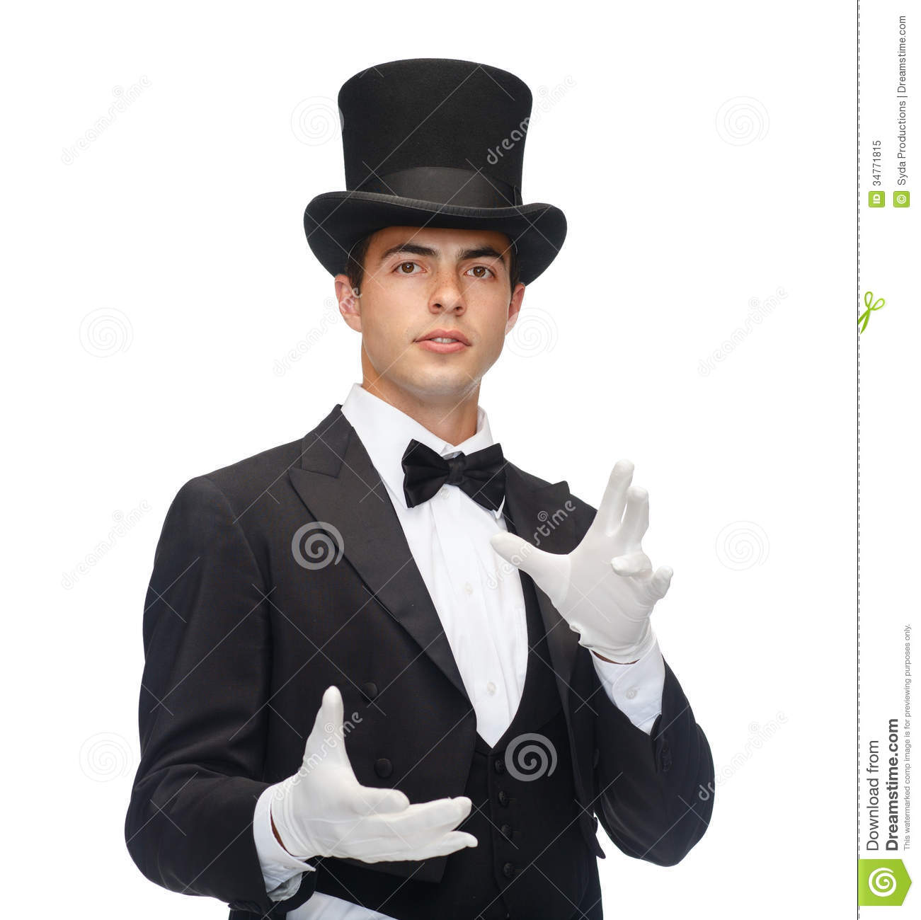 ... performance, circus, show concept - magician in top hat showing trick