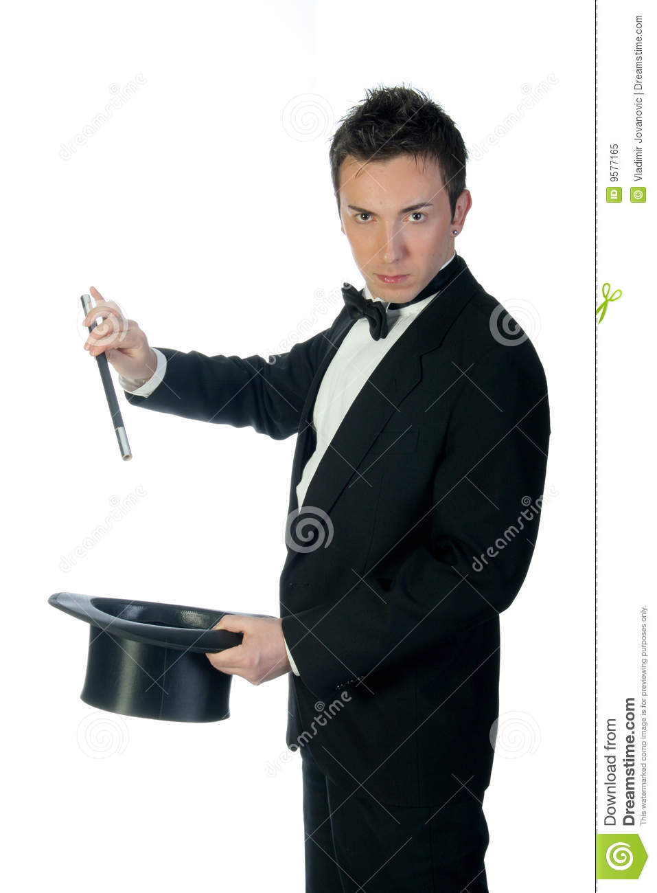 Magician From The Crystal Visions Tarot: Magician With Wand And Hat Stock Image. Image Of