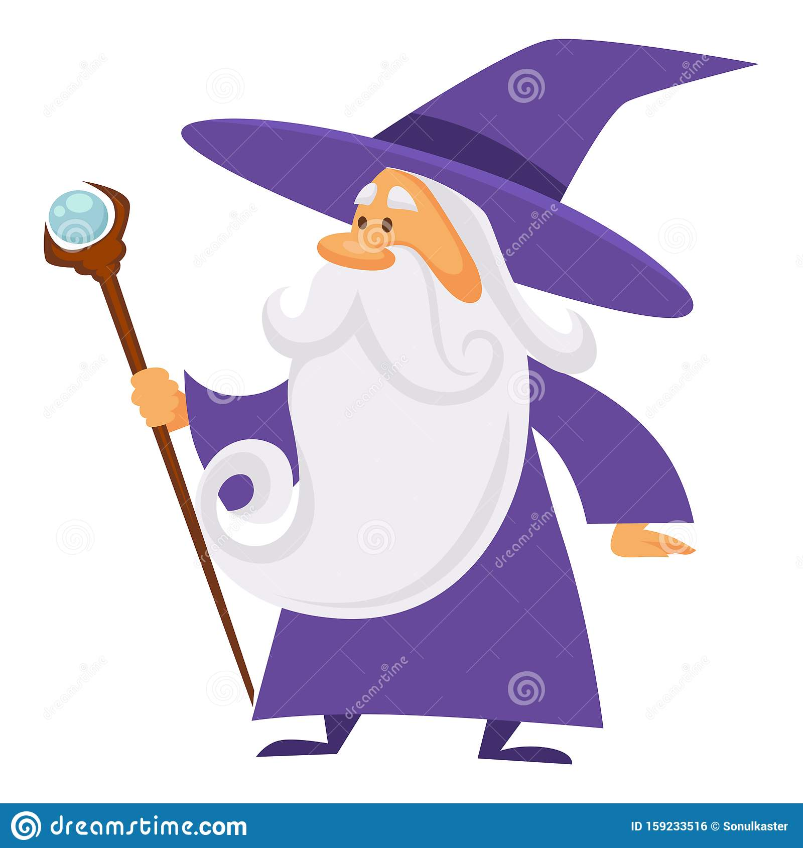 Magician And Wizard With Scepter Warlock Man In Robe Isolated Character Stock Vector Illustration Of Scepter Fantasy 159233516