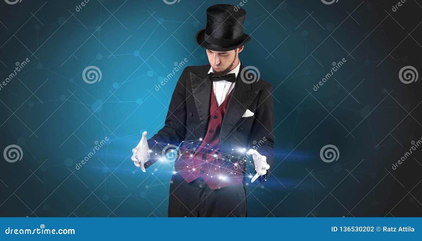 Magicien avec la connexion géométrique sur sa main
