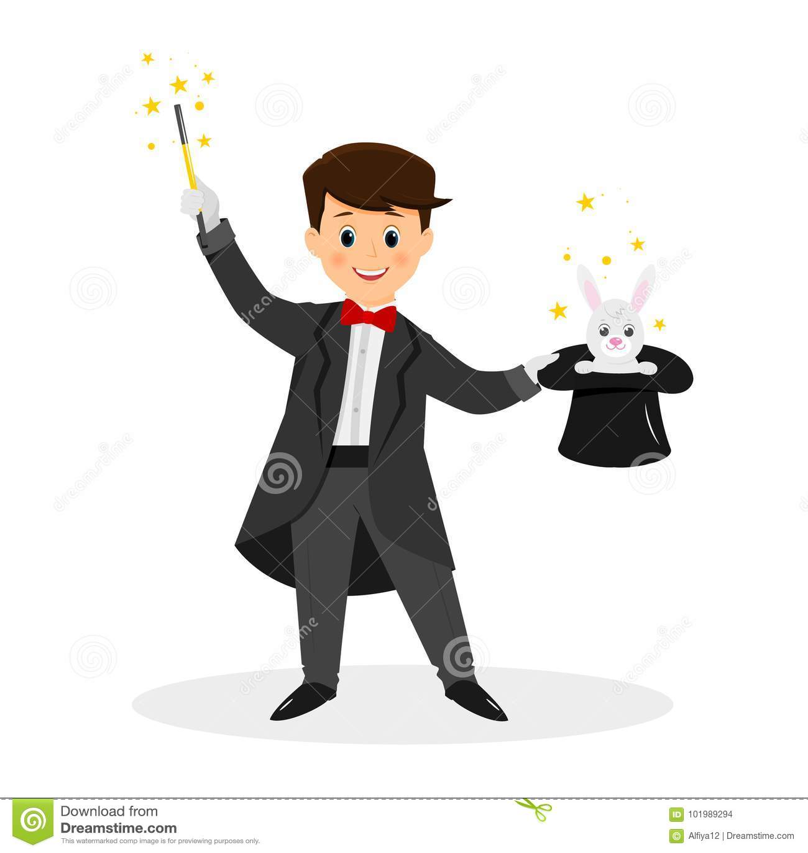 Magicien avec le chapeau et la baguette magique de magie illustration de vecteur illustration - Dessin de chapeau de magicien ...