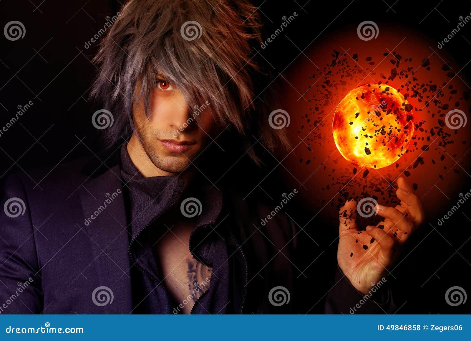 Magicien beau avec un aérolithe