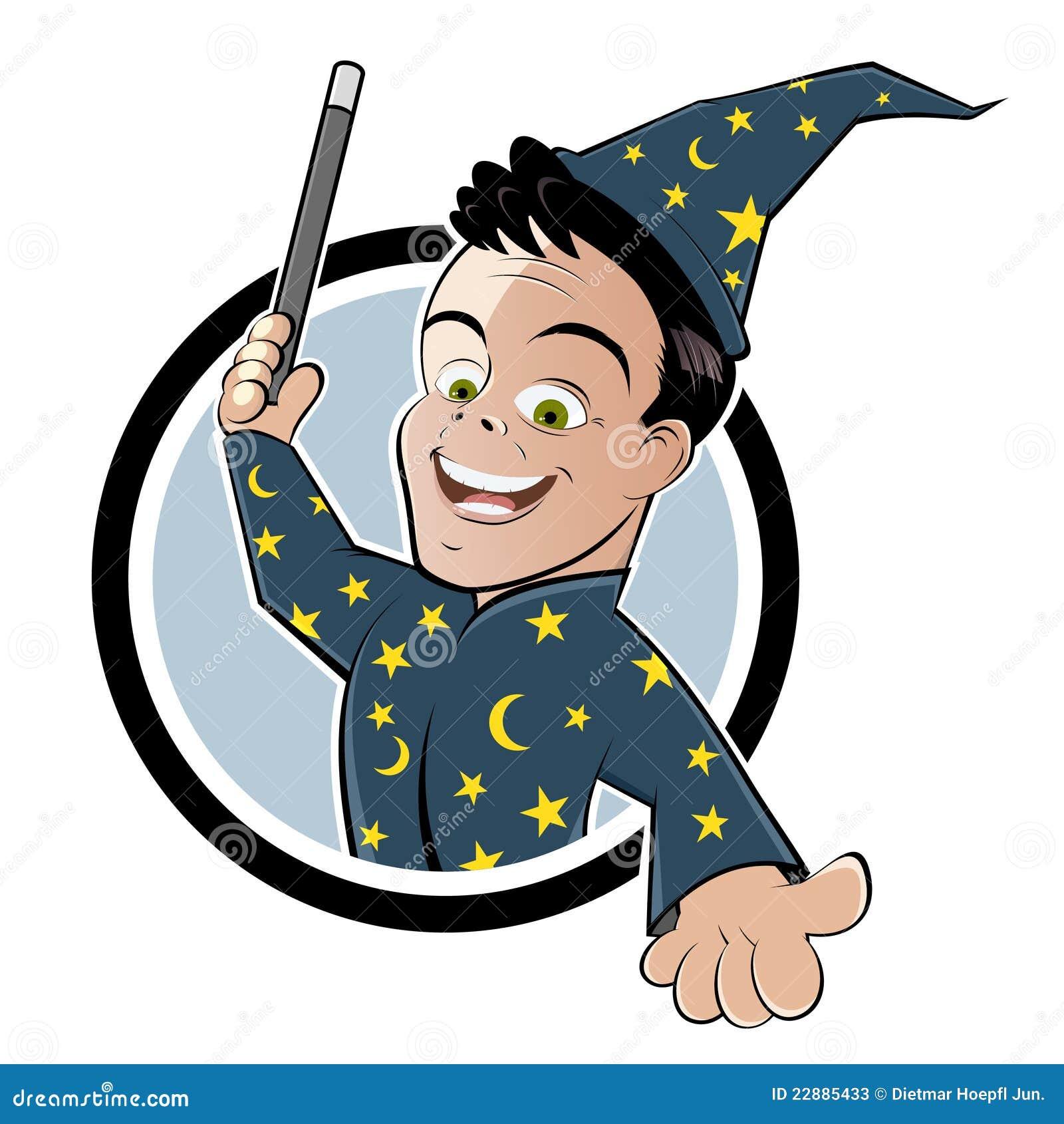 Magicien de dessin animé avec la baguette magique