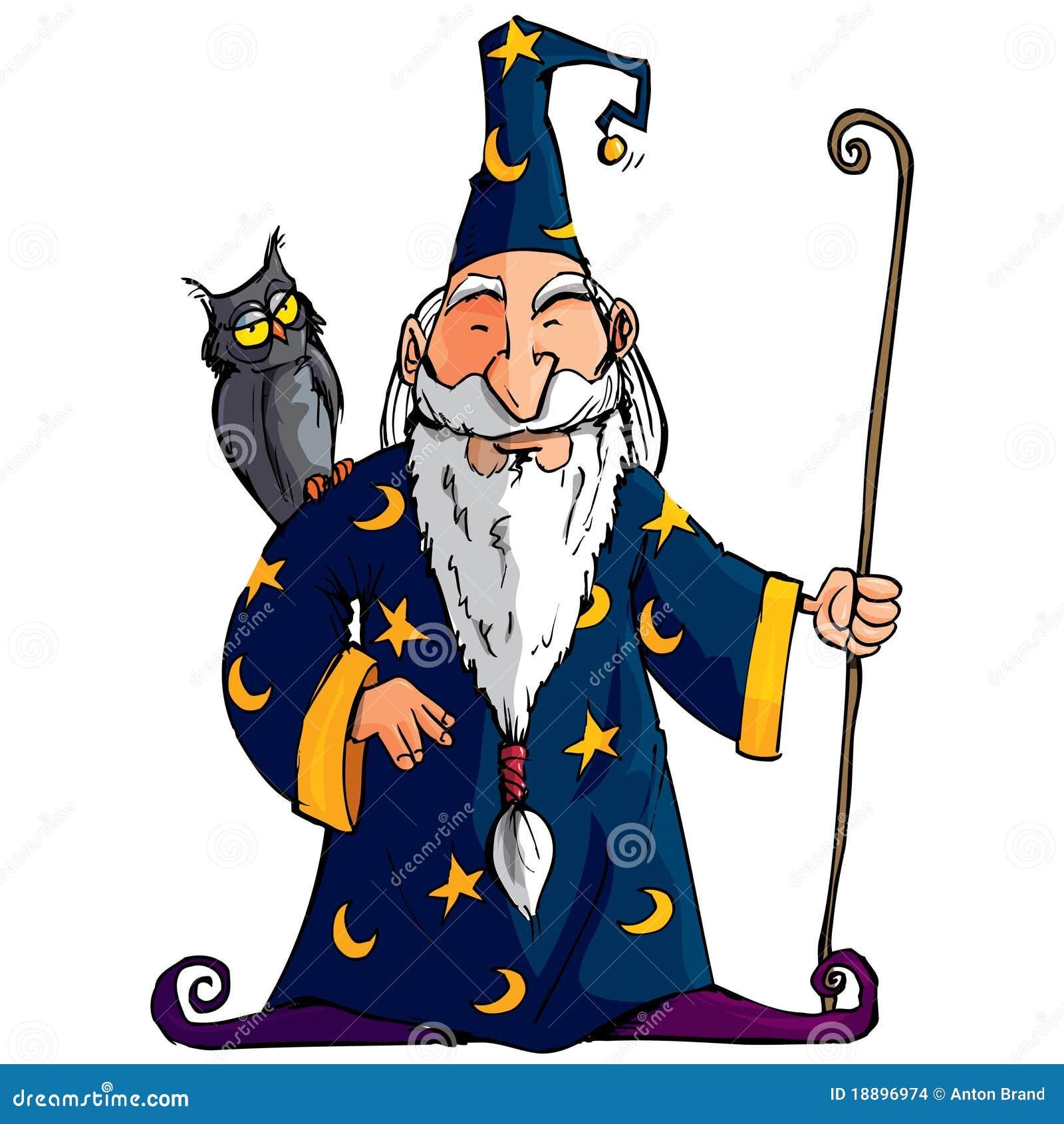 magicien de dessin anim avec un personnel