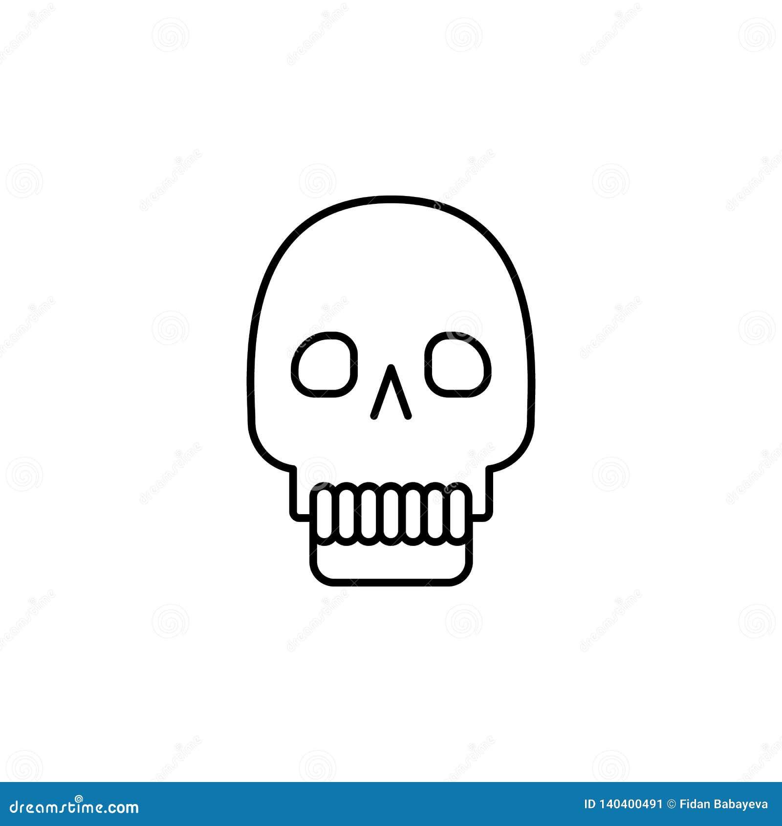 Magiczna czaszka konturu ikona Znaki i symbole mogą używać dla sieci, logo, mobilny app, UI, UX