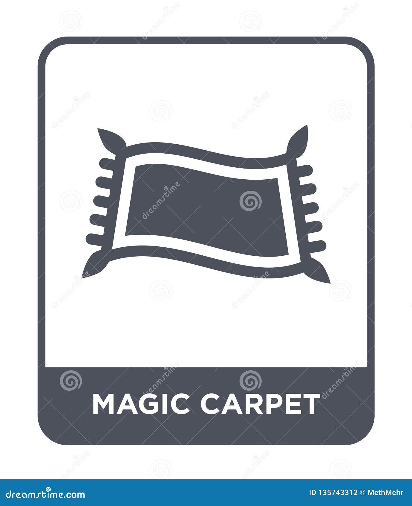 Magiczna dywanowa ikona w modnym projekta stylu magiczna dywanowa ikona odizolowywająca na białym tle magiczna dywanowa wektorowa