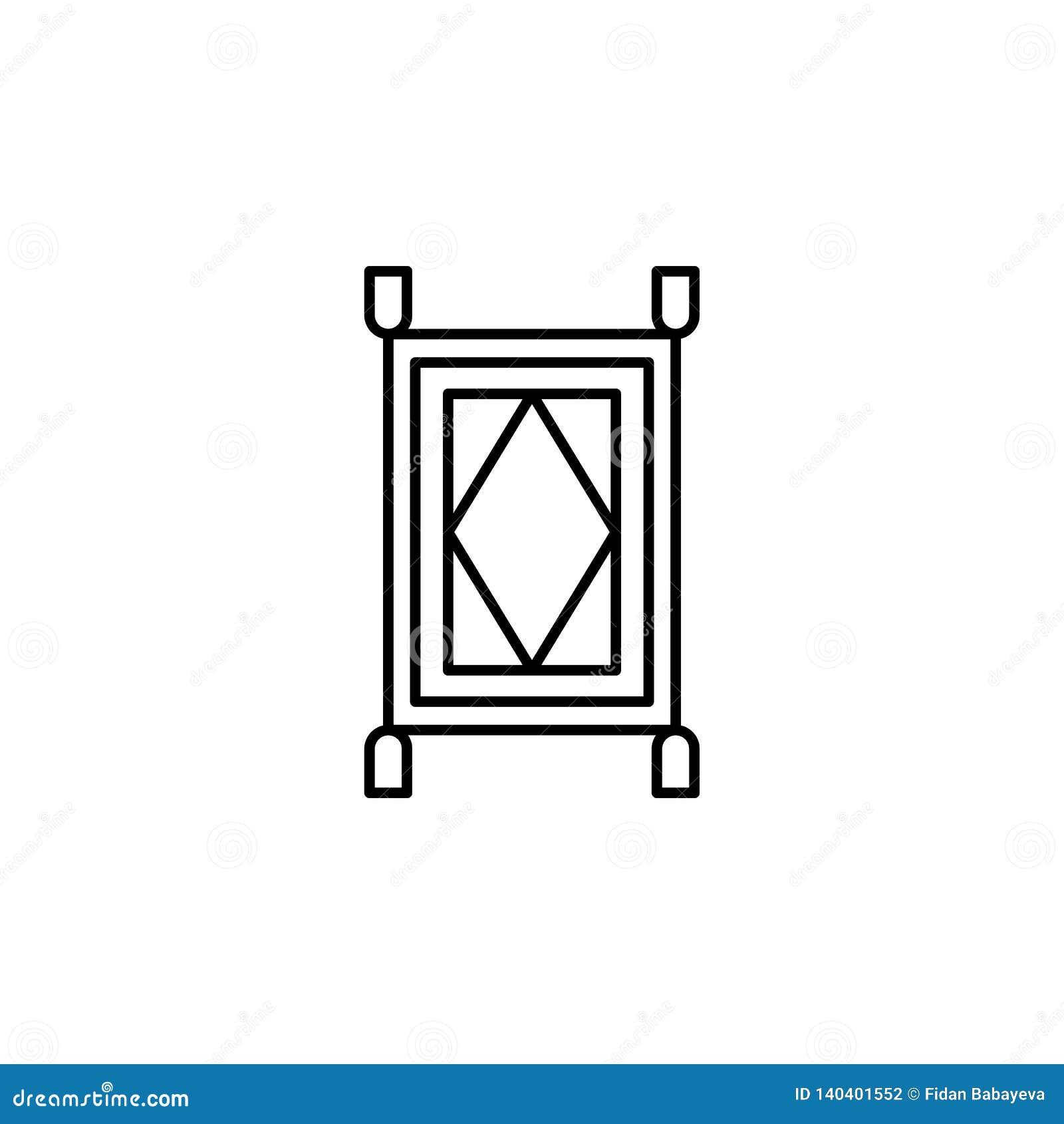 Magiczna dywanowa kontur ikona Znaki i symbole mogą używać dla sieci, logo, mobilny app, UI, UX