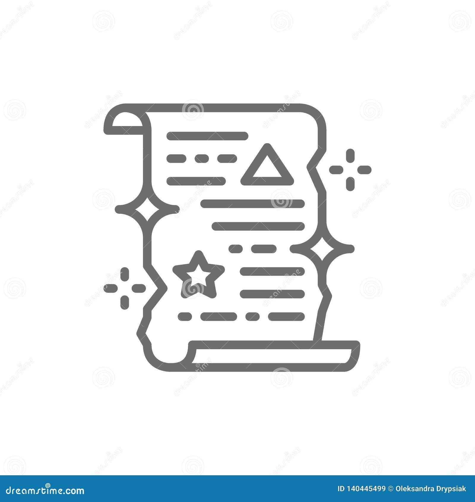 Magicznego czary ślimacznica, unrolled papierowa świadectwo linii ikona