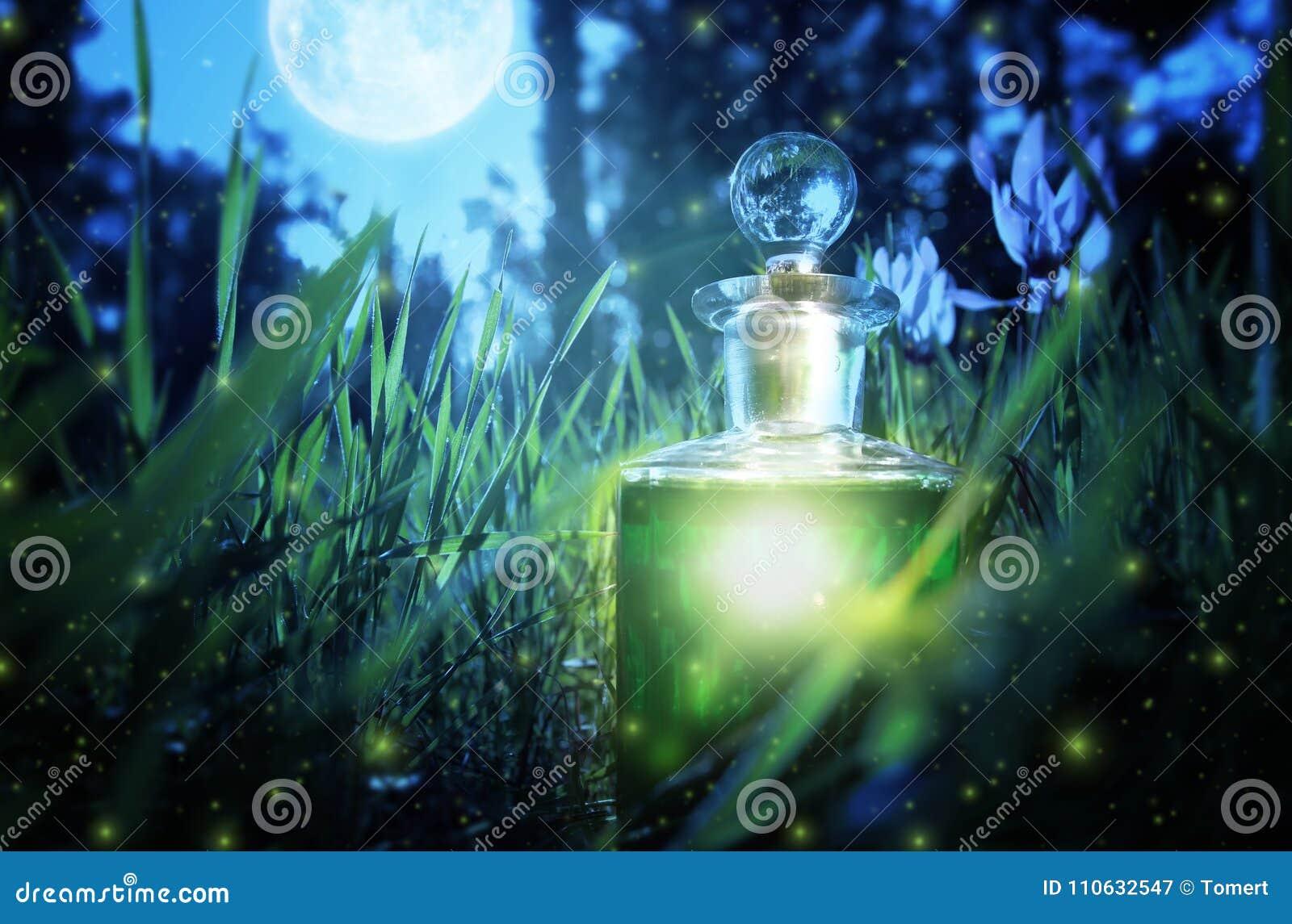 Magiczny czarodziejski pyłu napój miłosny w butelce w lesie