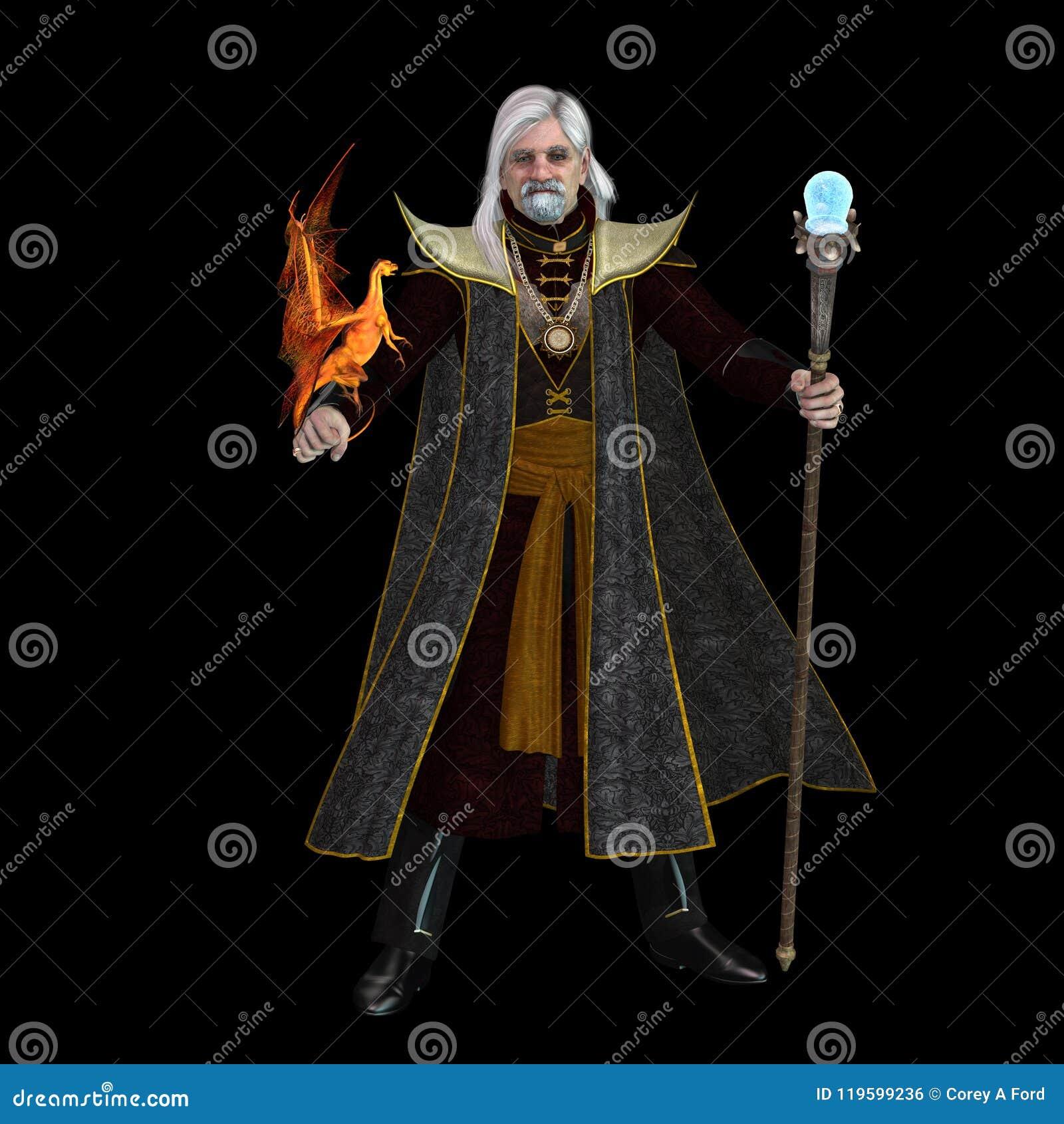 Magiczny czarownik na czerni