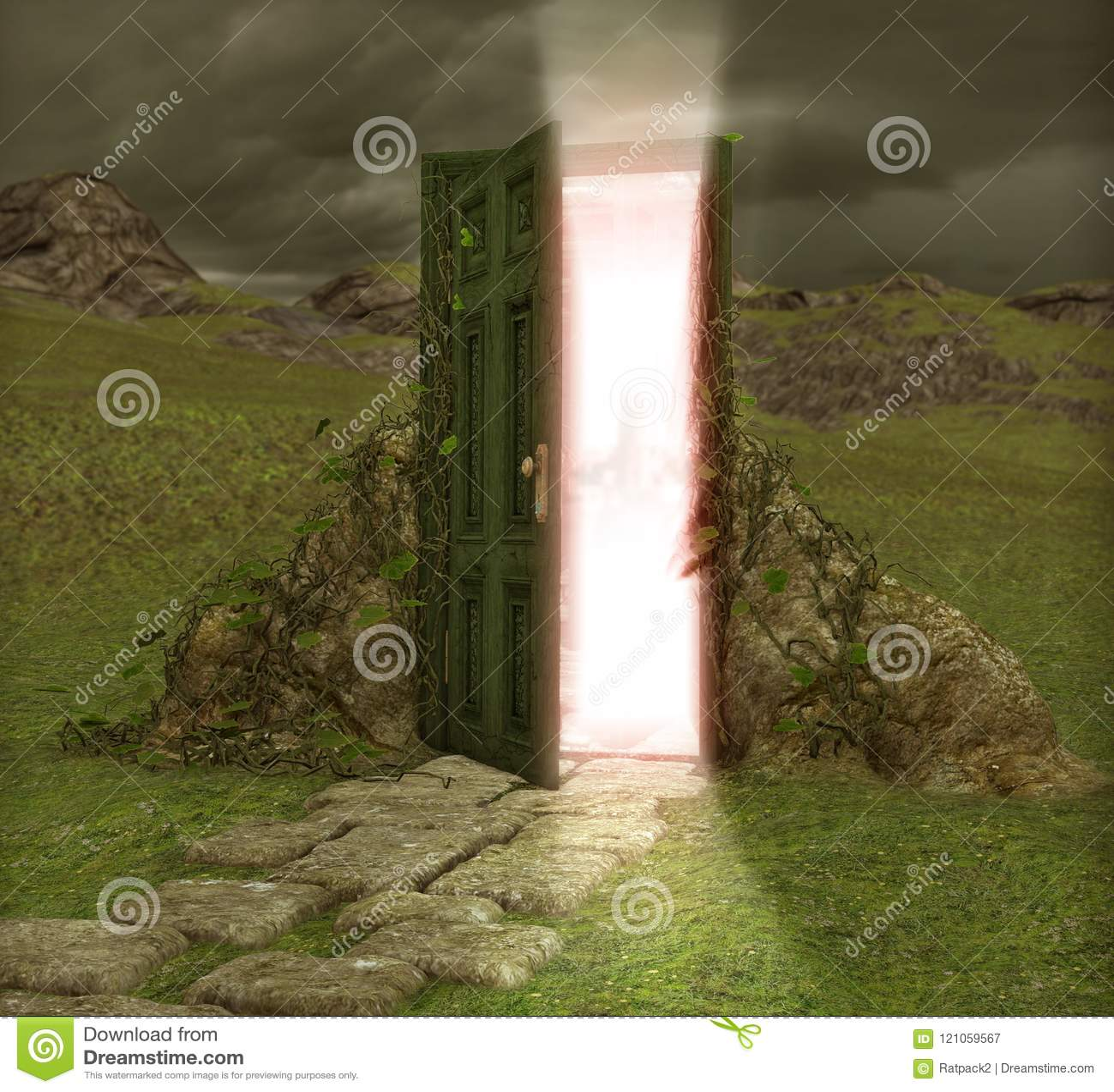 Magiczny Drzwiowy drzwi w innego świat